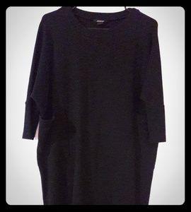 Monki black oversized shift dress w/ pockets